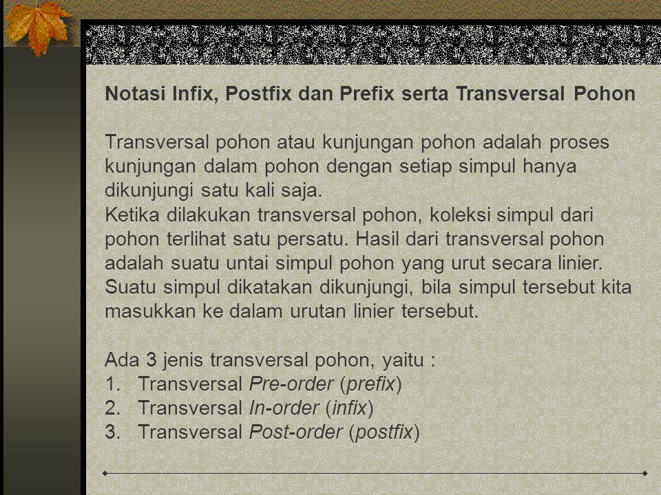 Notasi Infix, Postfix dan Prefix serta Transversal Pohon