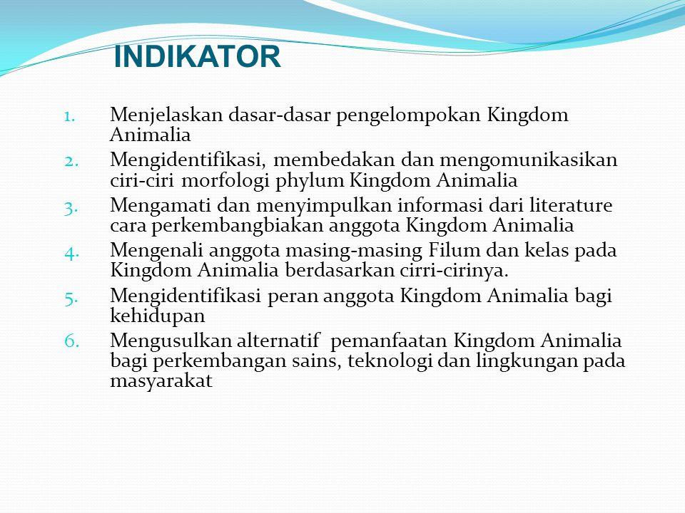 INDIKATOR Menjelaskan dasar-dasar pengelompokan Kingdom Animalia