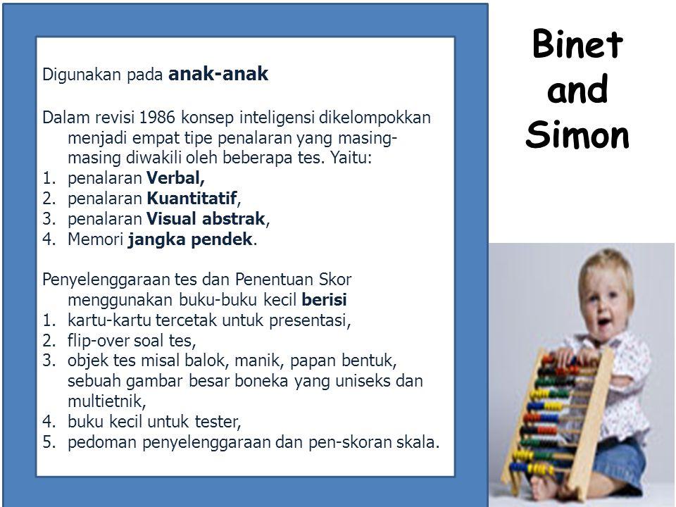 Binet and Simon Digunakan pada anak-anak