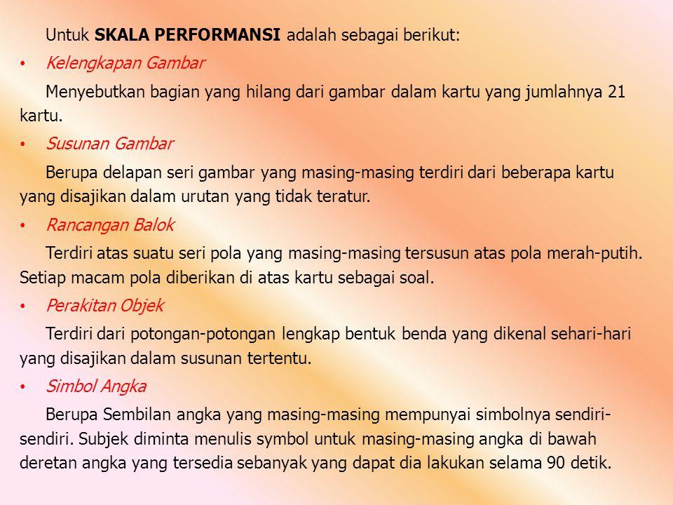 Untuk SKALA PERFORMANSI adalah sebagai berikut: