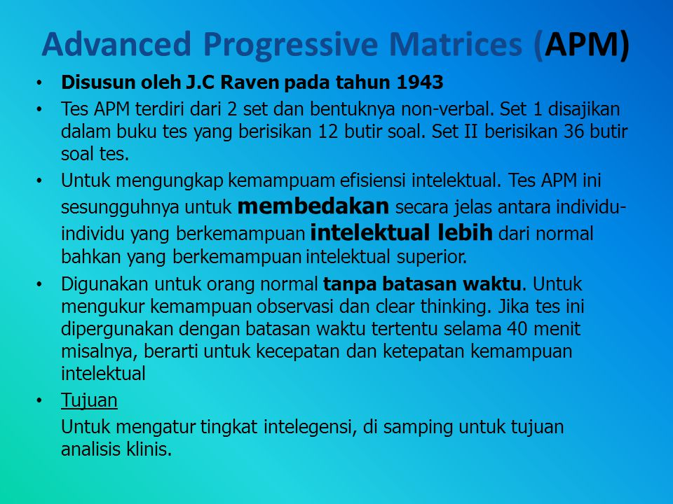 Advanced Progressive Matrices (APM)