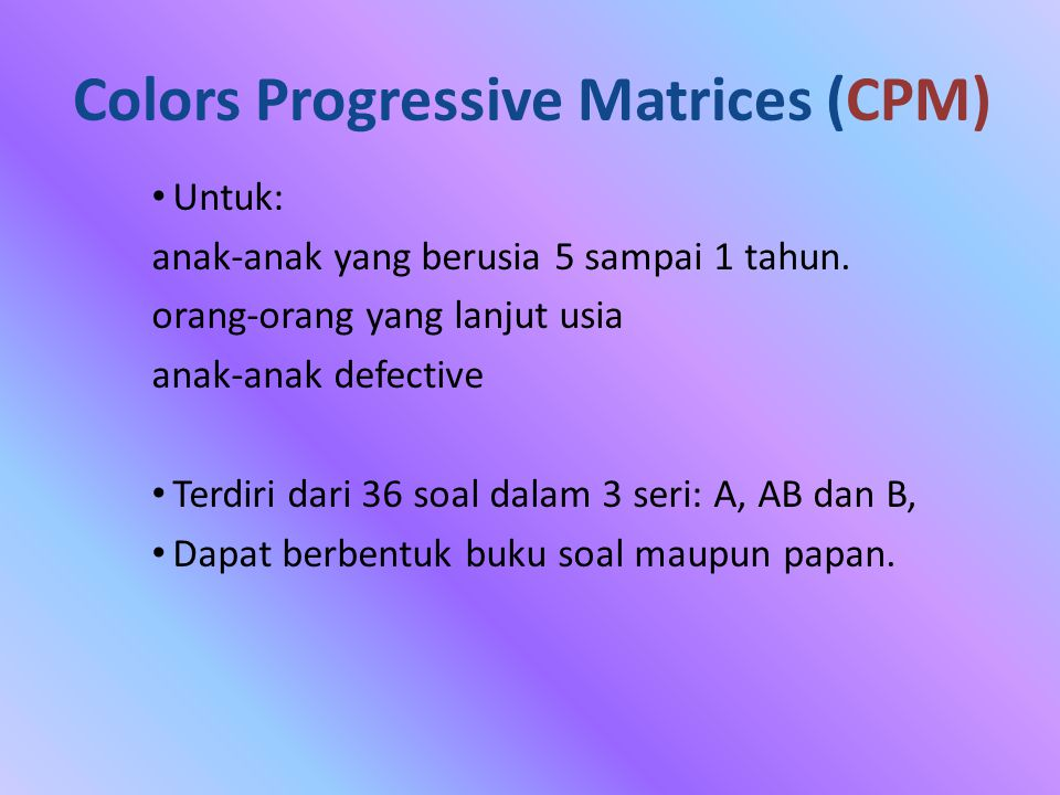 Colors Progressive Matrices (CPM)