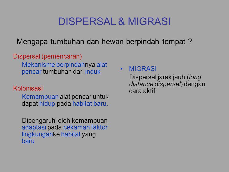 DISPERSAL & MIGRASI Mengapa tumbuhan dan hewan berpindah tempat