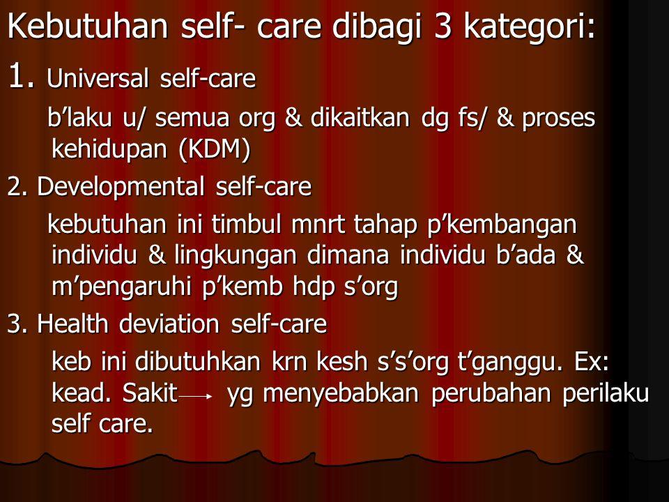 Kebutuhan self- care dibagi 3 kategori: 1. Universal self-care