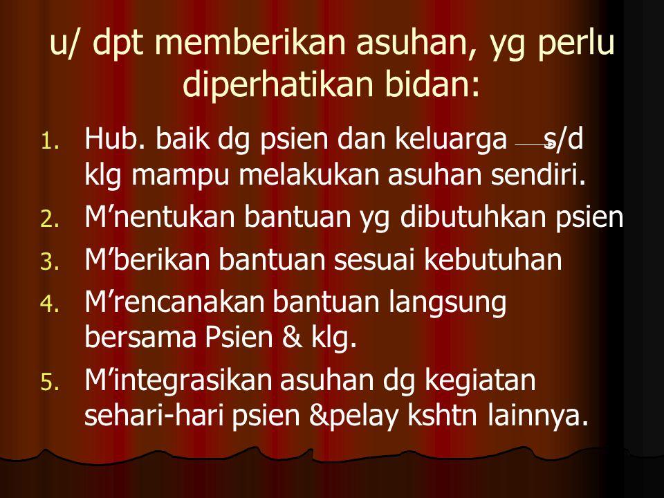 u/ dpt memberikan asuhan, yg perlu diperhatikan bidan: