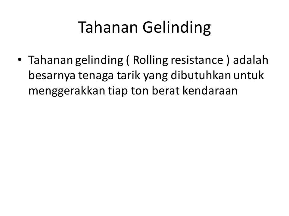 Tahanan Gelinding Tahanan gelinding ( Rolling resistance ) adalah besarnya tenaga tarik yang dibutuhkan untuk menggerakkan tiap ton berat kendaraan.