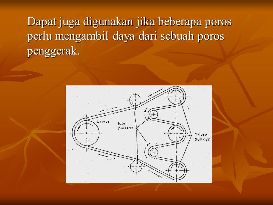 Dapat juga digunakan jika beberapa poros perlu mengambil daya dari sebuah poros penggerak.