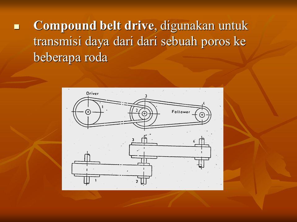 Compound belt drive, digunakan untuk transmisi daya dari dari sebuah poros ke beberapa roda