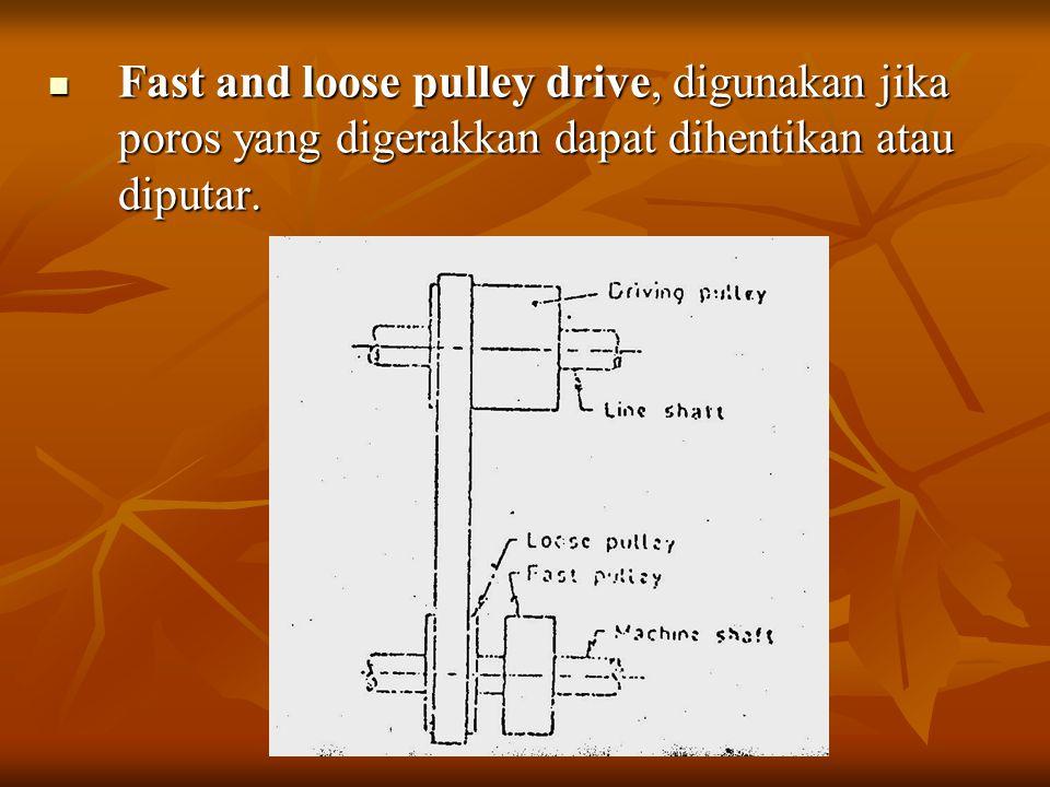 Fast and loose pulley drive, digunakan jika poros yang digerakkan dapat dihentikan atau diputar.