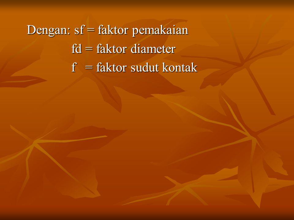 Dengan: sf = faktor pemakaian