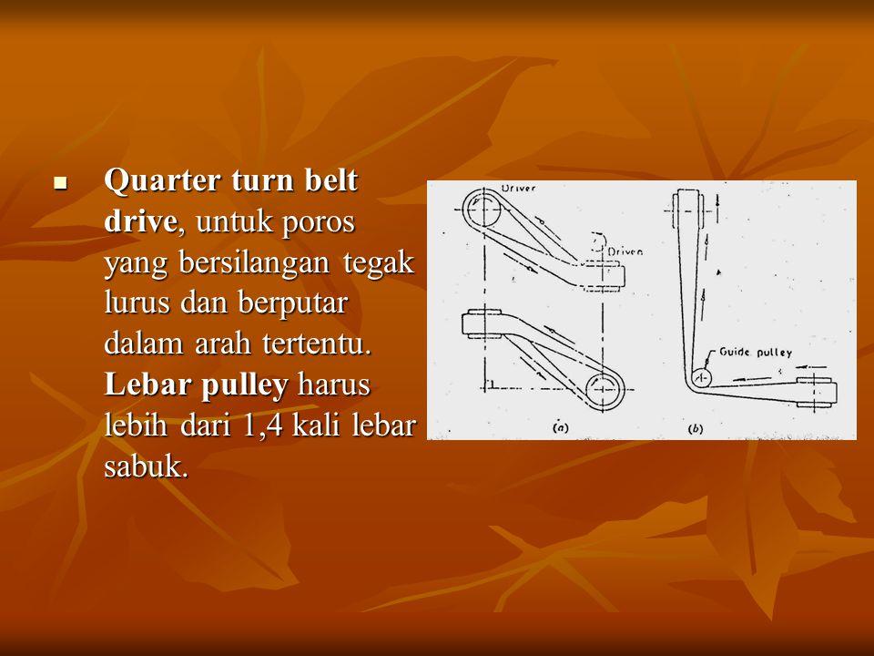 Quarter turn belt drive, untuk poros yang bersilangan tegak lurus dan berputar dalam arah tertentu.