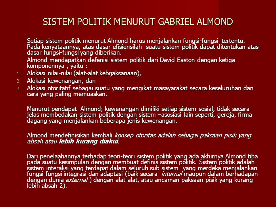 SISTEM POLITIK MENURUT GABRIEL ALMOND