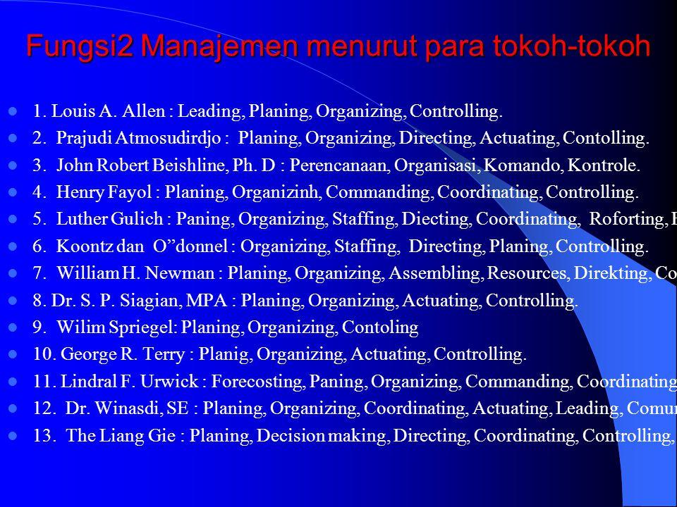 Fungsi2 Manajemen menurut para tokoh-tokoh