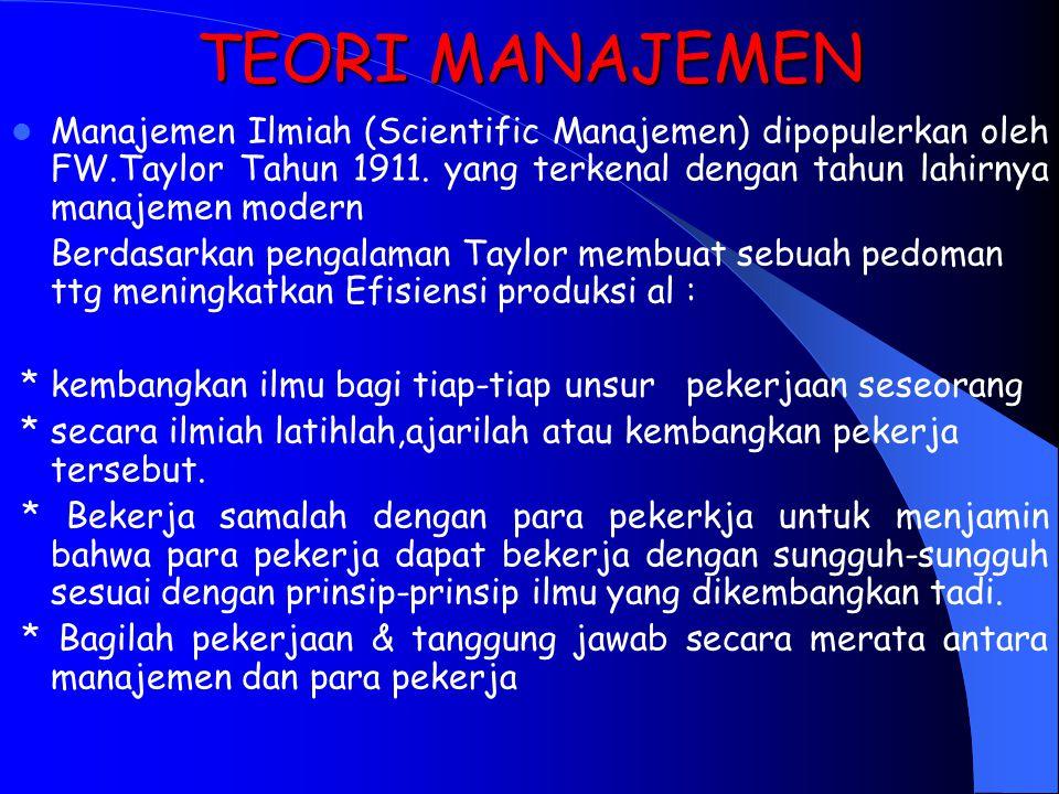 TEORI MANAJEMEN Manajemen Ilmiah (Scientific Manajemen) dipopulerkan oleh FW.Taylor Tahun 1911. yang terkenal dengan tahun lahirnya manajemen modern.