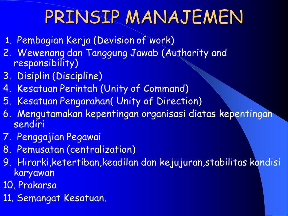 PRINSIP MANAJEMEN 1. Pembagian Kerja (Devision of work) 2. Wewenang dan Tanggung Jawab (Authority and responsibility)