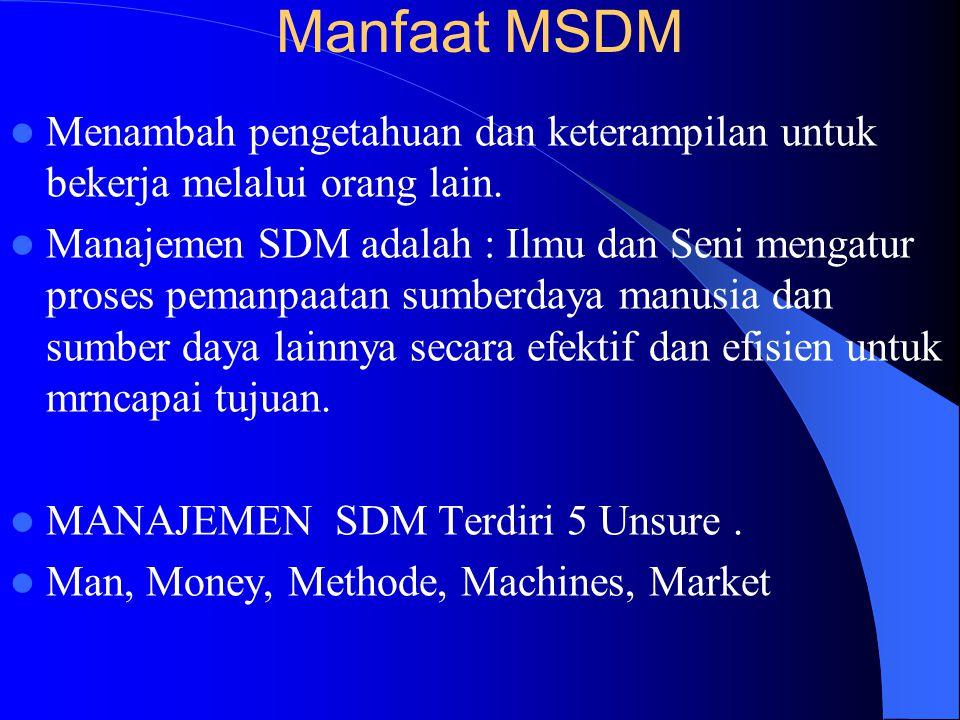 Manfaat MSDM Menambah pengetahuan dan keterampilan untuk bekerja melalui orang lain.