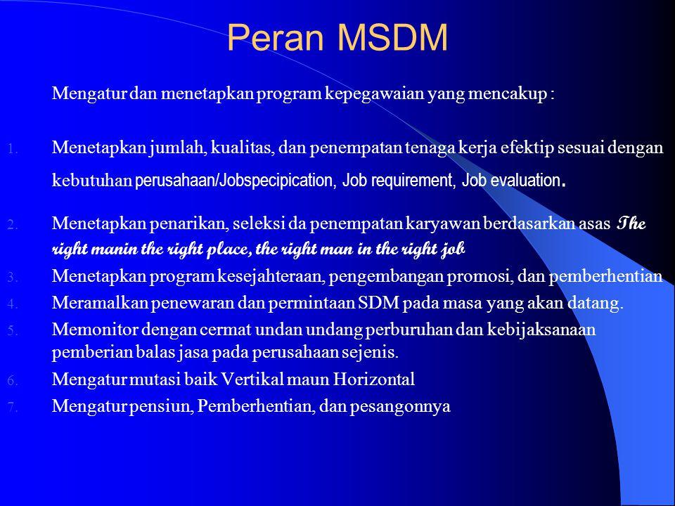 Peran MSDM Mengatur dan menetapkan program kepegawaian yang mencakup :