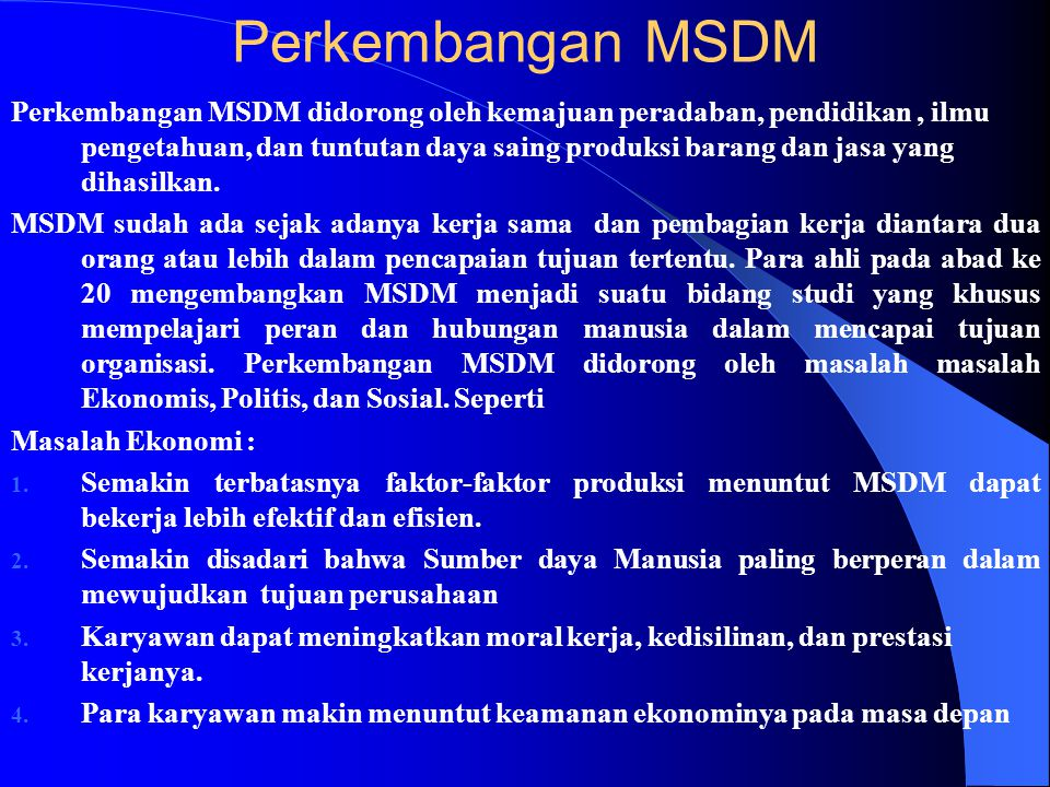 Perkembangan MSDM