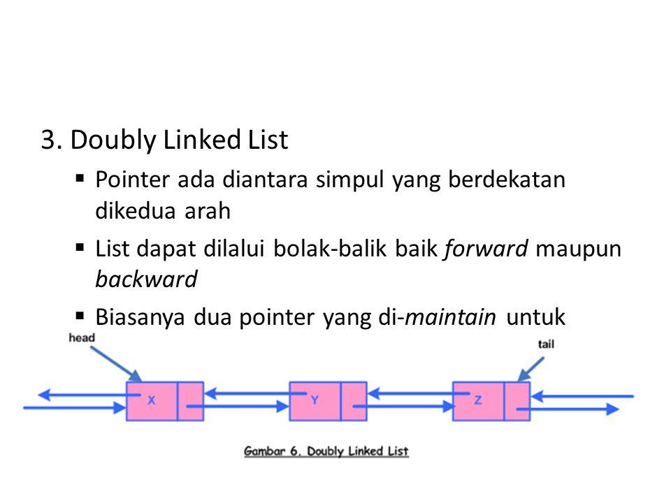 3. Doubly Linked List Pointer ada diantara simpul yang berdekatan dikedua arah. List dapat dilalui bolak-balik baik forward maupun backward.