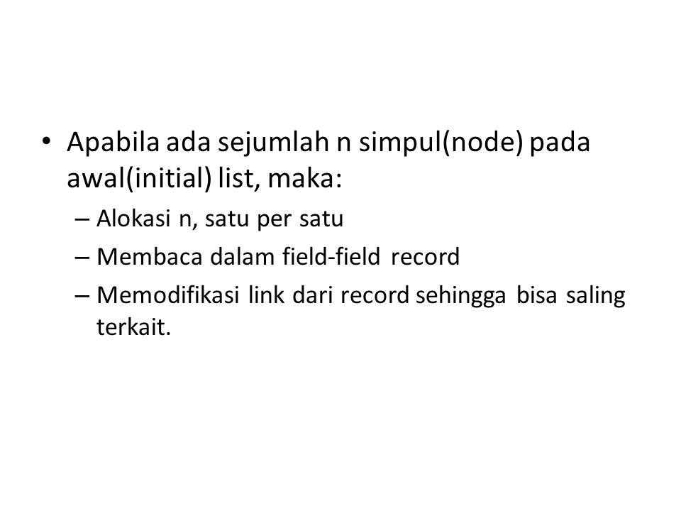 Apabila ada sejumlah n simpul(node) pada awal(initial) list, maka: