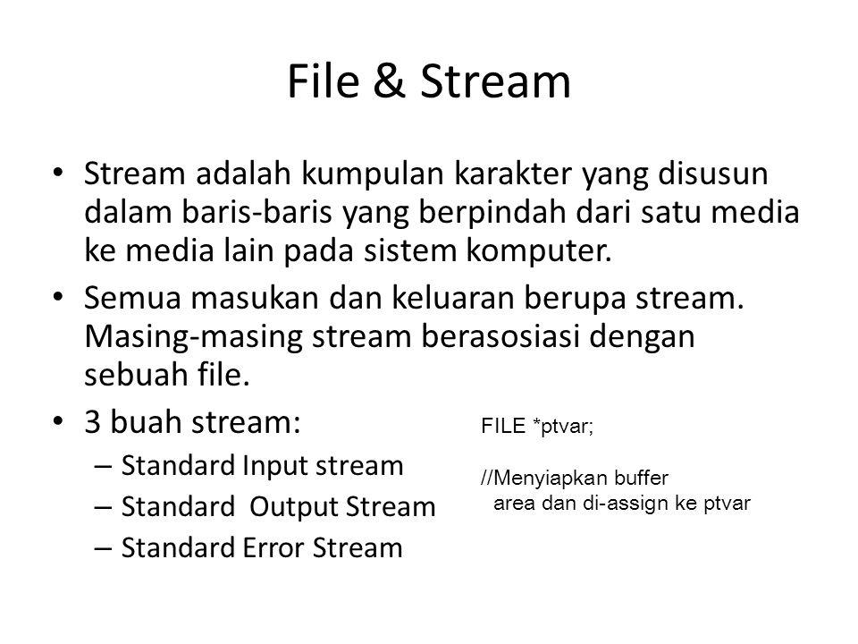 File & Stream Stream adalah kumpulan karakter yang disusun dalam baris-baris yang berpindah dari satu media ke media lain pada sistem komputer.