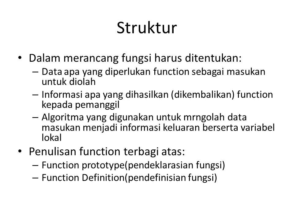 Struktur Dalam merancang fungsi harus ditentukan: