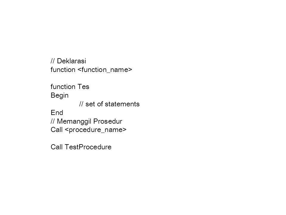 // Deklarasi function <function_name> function Tes. Begin. // set of statements. End. // Memanggil Prosedur.