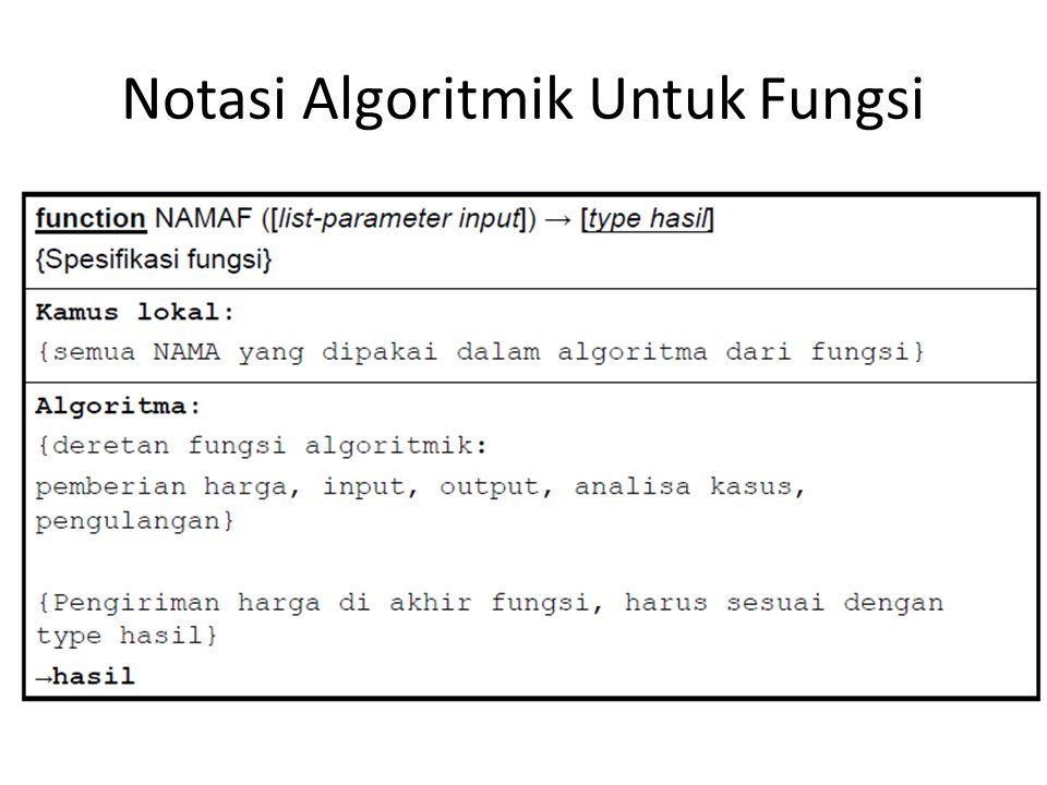 Notasi Algoritmik Untuk Fungsi