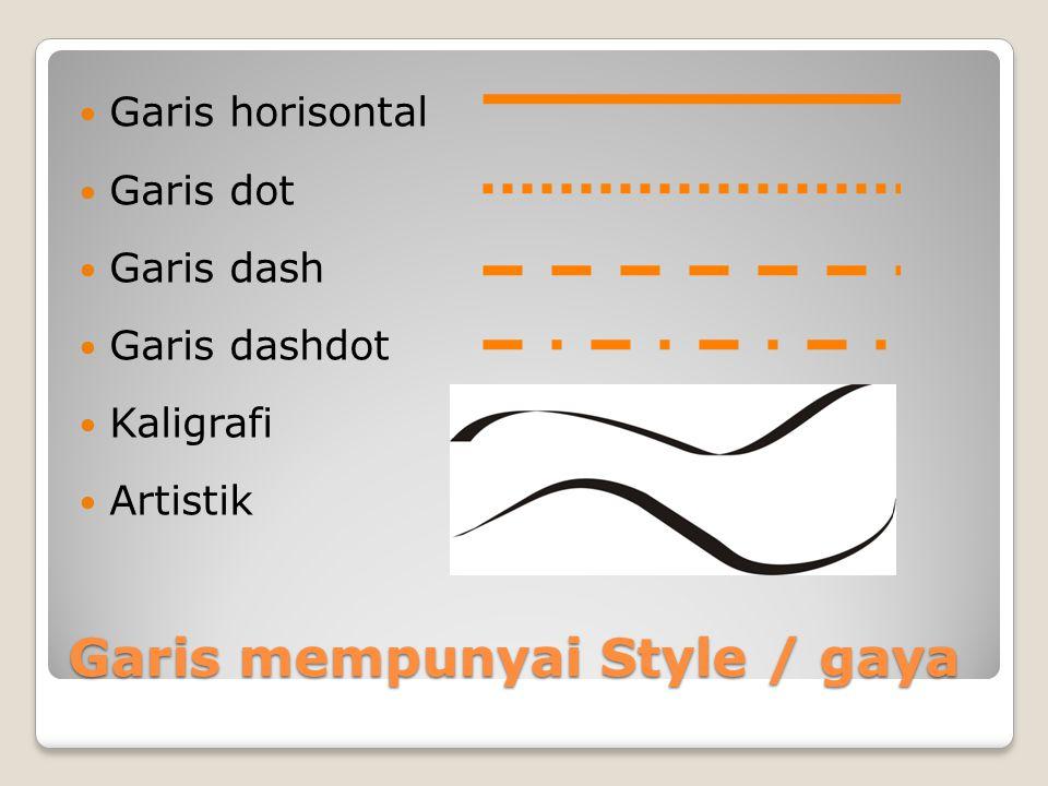 Garis mempunyai Style / gaya