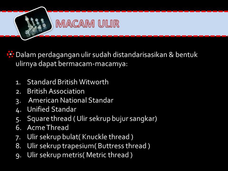 MACAM ULIR Dalam perdagangan ulir sudah distandarisasikan & bentuk ulirnya dapat bermacam-macamya: Standard British Witworth.