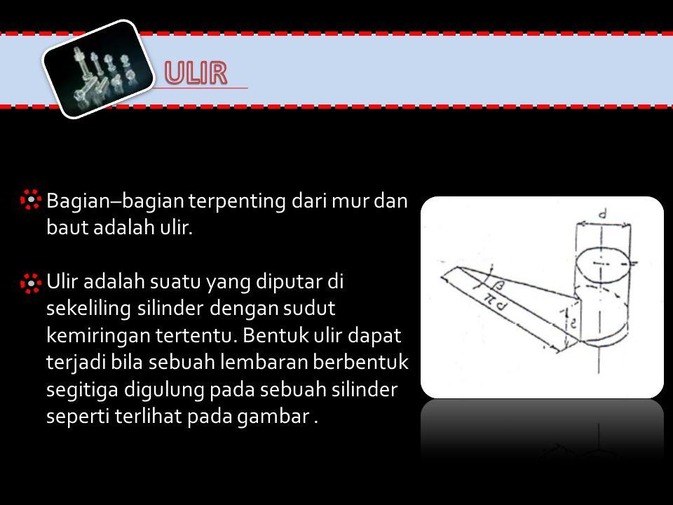ULIR Bagian–bagian terpenting dari mur dan baut adalah ulir.