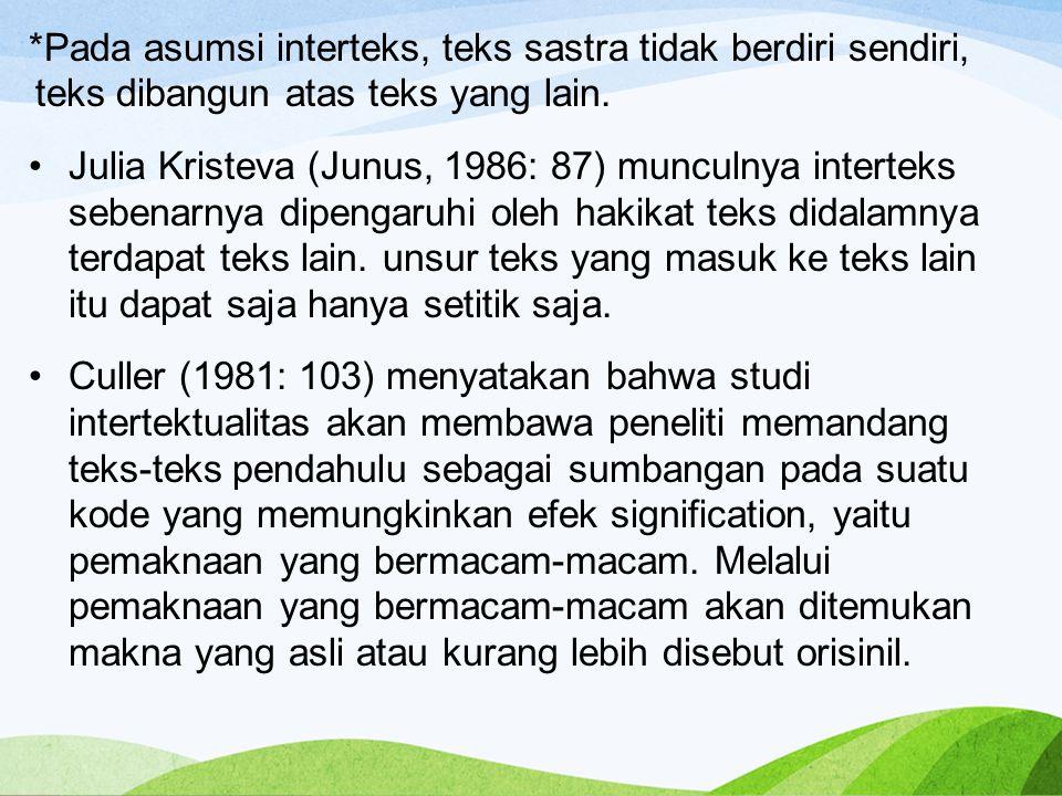 *Pada asumsi interteks, teks sastra tidak berdiri sendiri, teks dibangun atas teks yang lain.