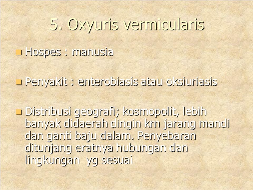 5. Oxyuris vermicularis Hospes : manusia