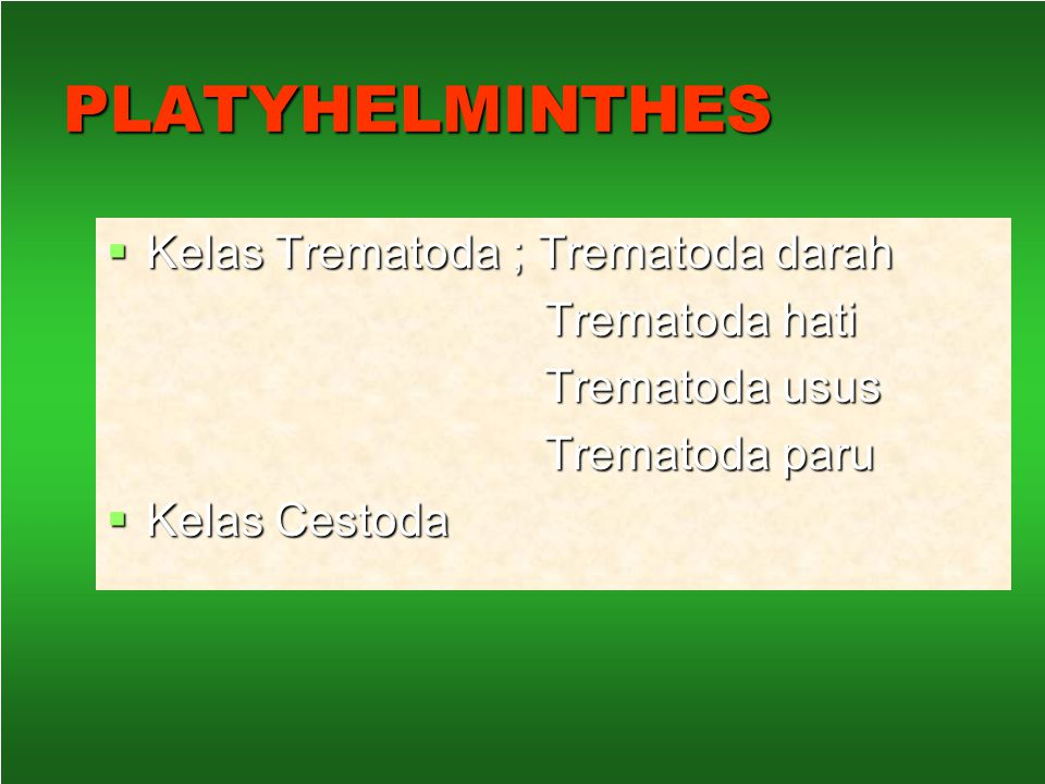 PLATYHELMINTHES Kelas Trematoda ; Trematoda darah Trematoda hati