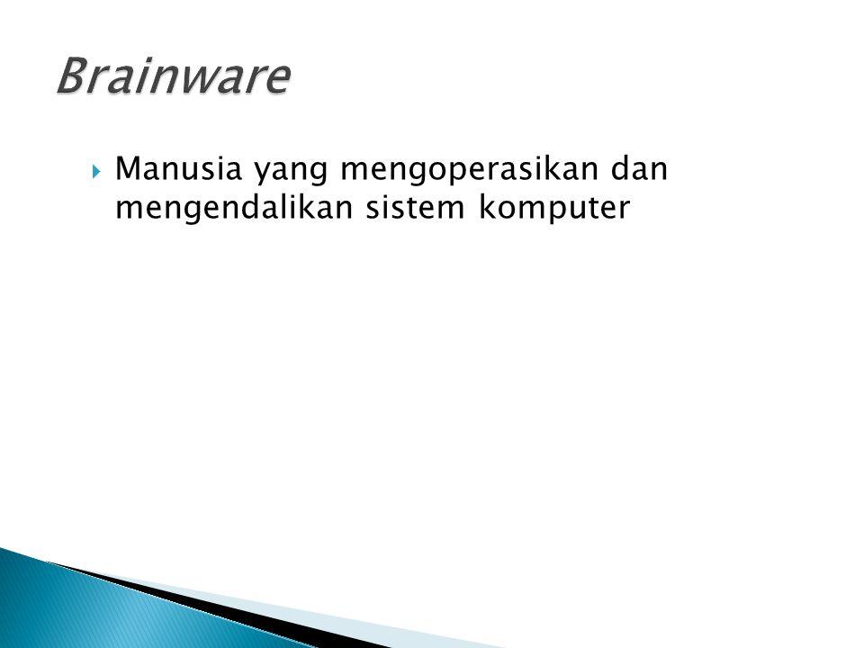 Brainware Manusia yang mengoperasikan dan mengendalikan sistem komputer