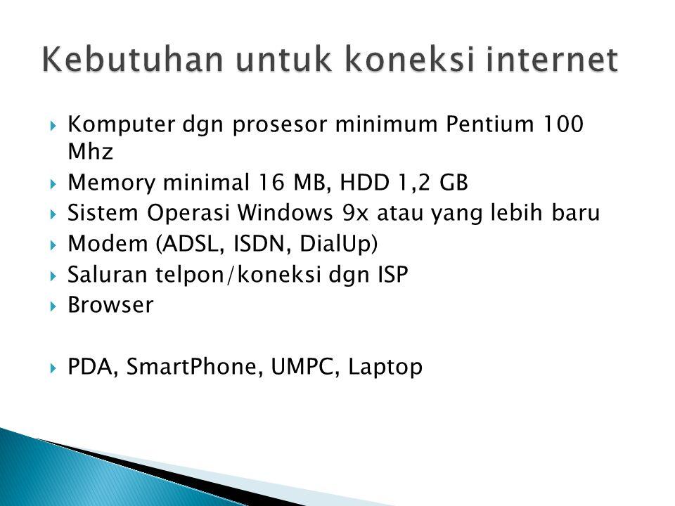 Kebutuhan untuk koneksi internet