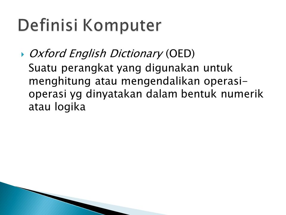 Definisi Komputer Oxford English Dictionary (OED)