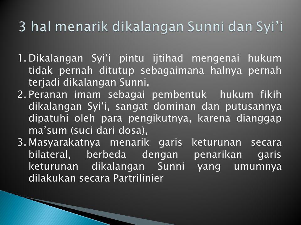 3 hal menarik dikalangan Sunni dan Syi'i