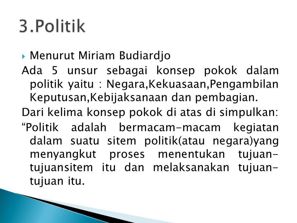 3.Politik Menurut Miriam Budiardjo