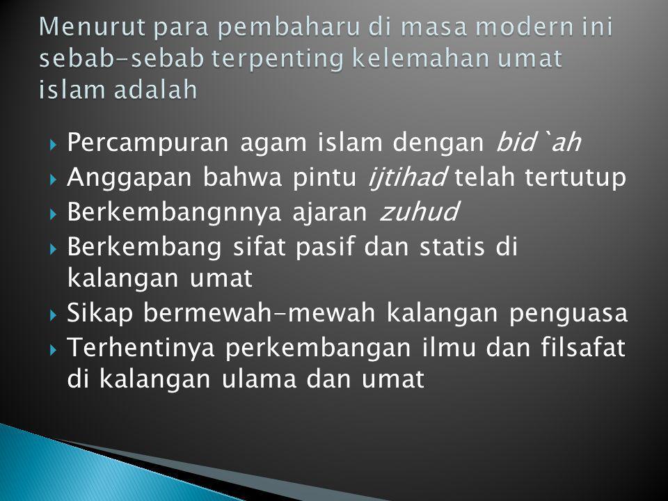 Menurut para pembaharu di masa modern ini sebab-sebab terpenting kelemahan umat islam adalah