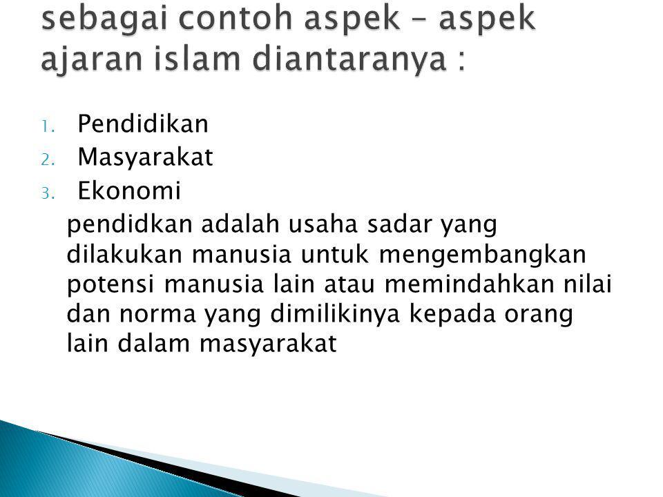 sebagai contoh aspek – aspek ajaran islam diantaranya :