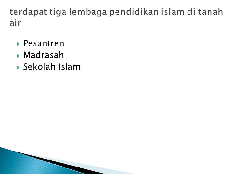 terdapat tiga lembaga pendidikan islam di tanah air