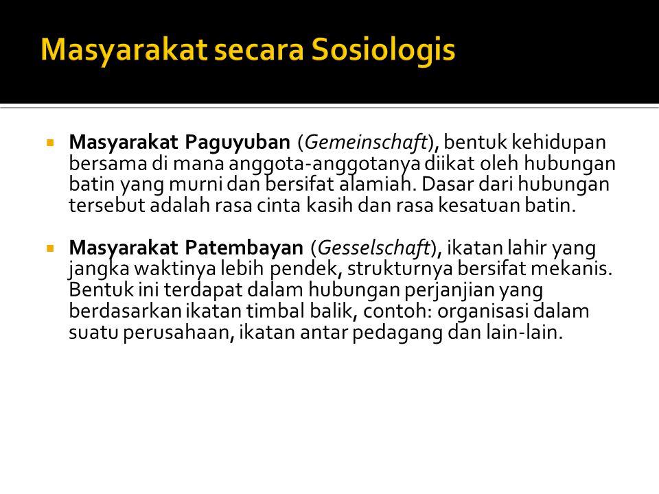 Masyarakat secara Sosiologis