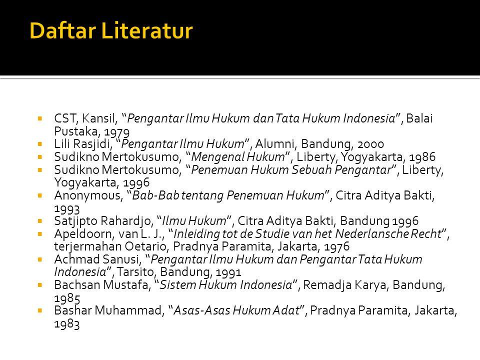 Daftar Literatur CST, Kansil, Pengantar Ilmu Hukum dan Tata Hukum Indonesia , Balai Pustaka, 1979.