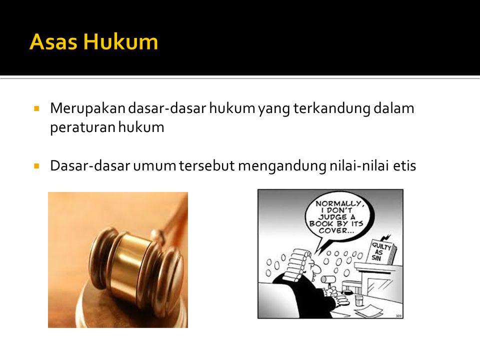 Asas Hukum Merupakan dasar-dasar hukum yang terkandung dalam peraturan hukum.
