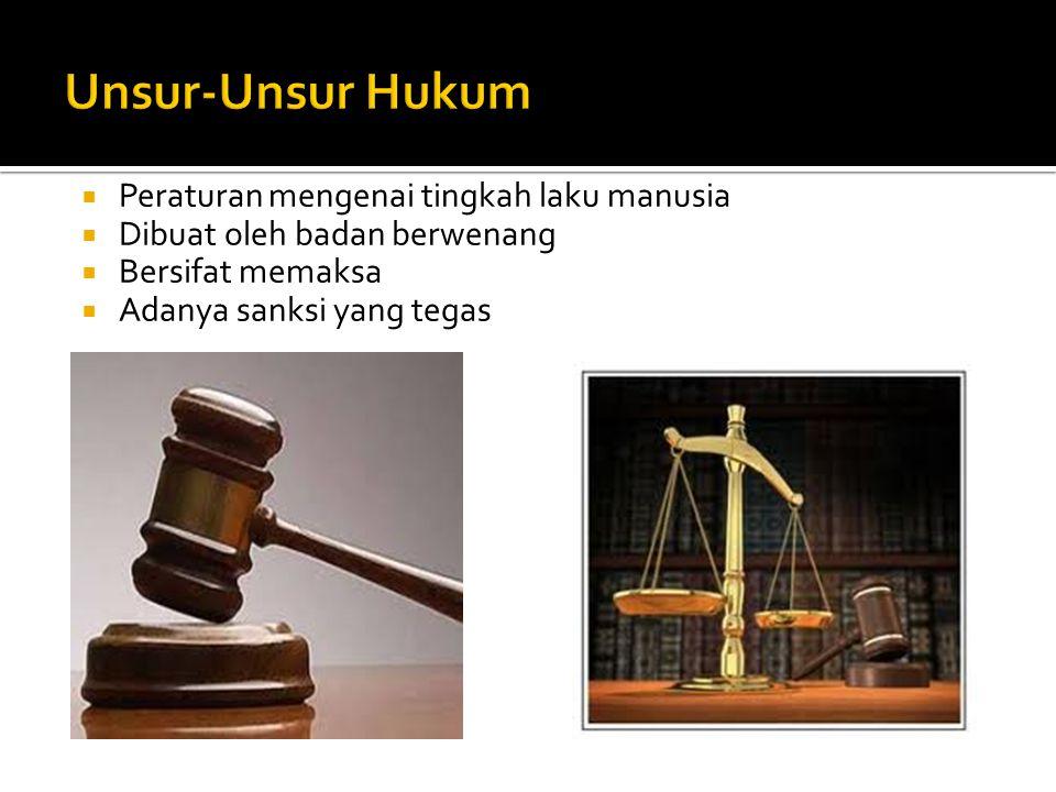 Unsur-Unsur Hukum Peraturan mengenai tingkah laku manusia