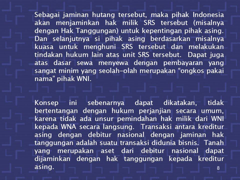 Sebagai jaminan hutang tersebut, maka pihak Indonesia akan menjaminkan hak milik SRS tersebut (misalnya dengan Hak Tanggungan) untuk kepentingan pihak asing. Dan selanjutnya si pihak asing berdasarkan misalnya kuasa untuk menghuni SRS tersebut dan melakukan tindakan hukum lain atas unit SRS tersebut. Dapat juga atas dasar sewa menyewa dengan pembayaran yang sangat minim yang seolah-olah merupakan ongkos pakai nama pihak WNI.