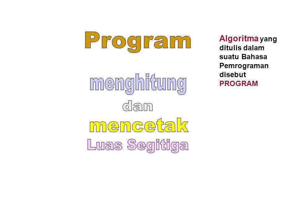 Program menghitung dan mencetak Luas Segitiga