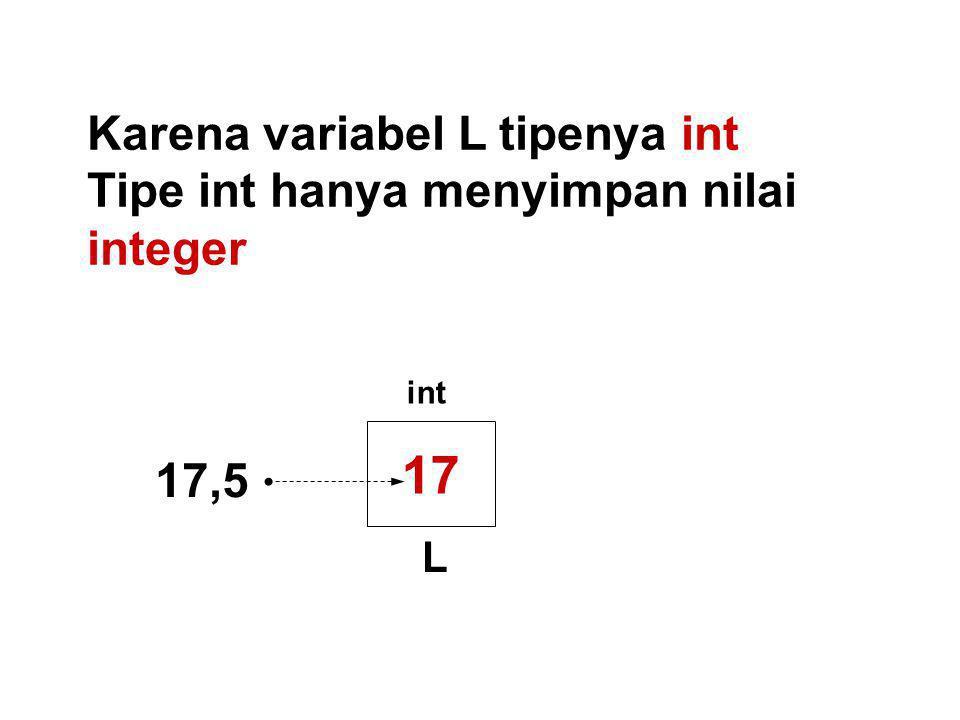 17 Karena variabel L tipenya int