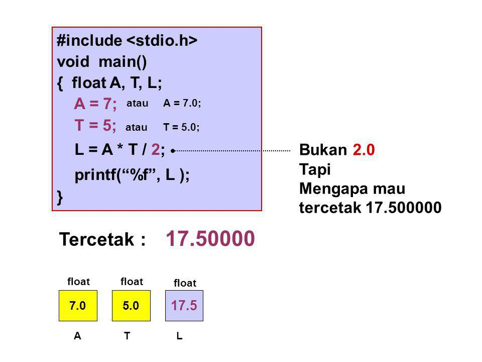 17.50000 Tercetak : #include <stdio.h> void main()